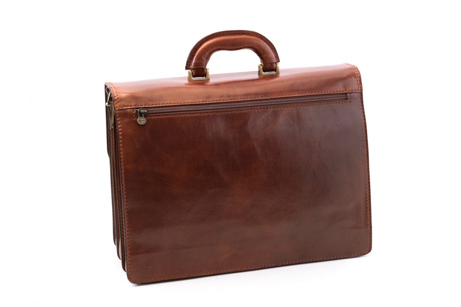 Leather business bag with three pockets
