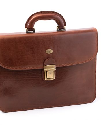 Leather business bag big with one pocket