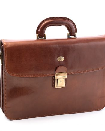 Leather business bag medium with two pockets