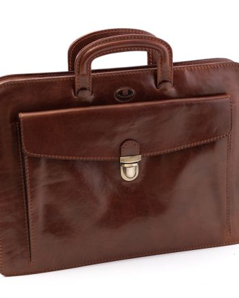 Leather briefcase with folder