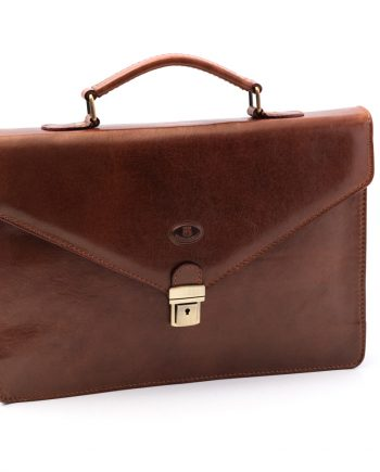 Leather business bag medium with one pocket