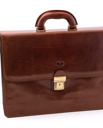 Leather business bag big with two pockets