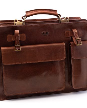 Leather briefcase for newspapers