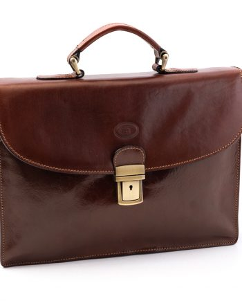 Leather business bag big-medium with two pockets