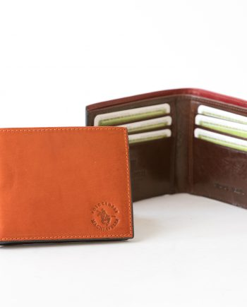 Small leather man wallet without flap